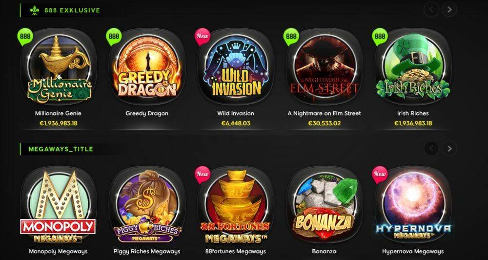 888 Casino Spielangebot