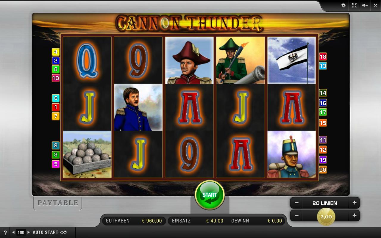 Cannon Thunder Spielautomat - Spielen Sie gratis & gewinnen Sie