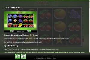 cash fruits plus auszahlungsquote