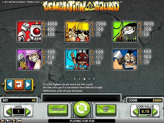 demolition-squad-tabelle