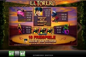 El Torero Gewinntabelle