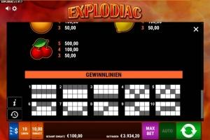 Explodiac Vorschau Gewinnlinien