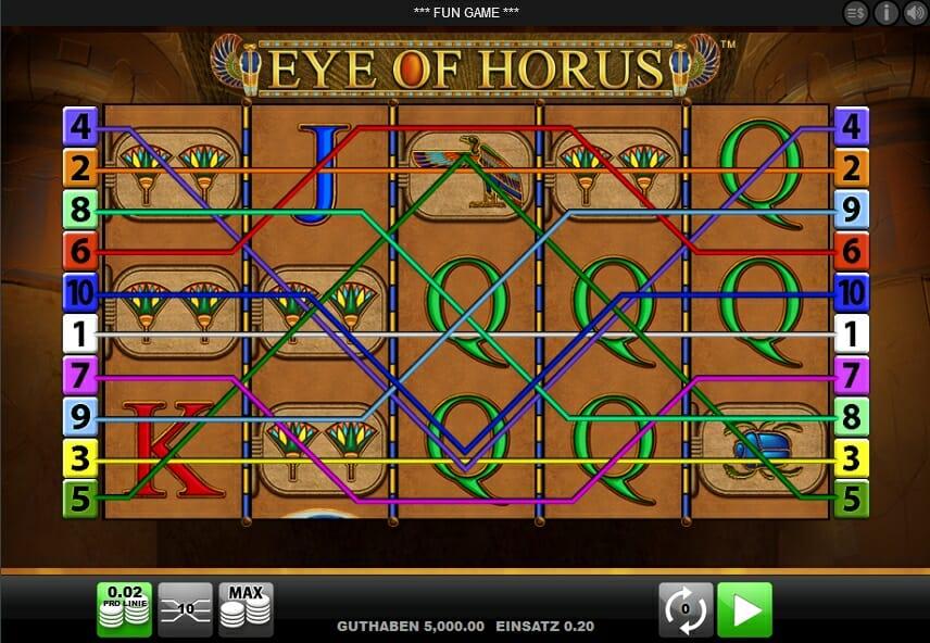 Eye of Horus Gewinnlinien