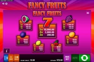 fancy fruits gewinntabelle