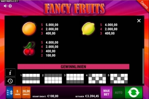 Fancy Fruits Vorschau Gewinnlinien