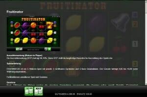 fruitinator auszahlungsquote