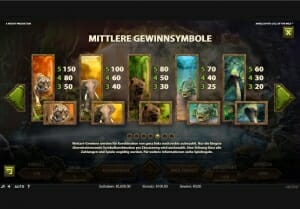 Jungle Spirit Gewinntabelle
