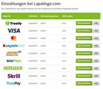 Lapalingo Casino Zahlungsanbieter