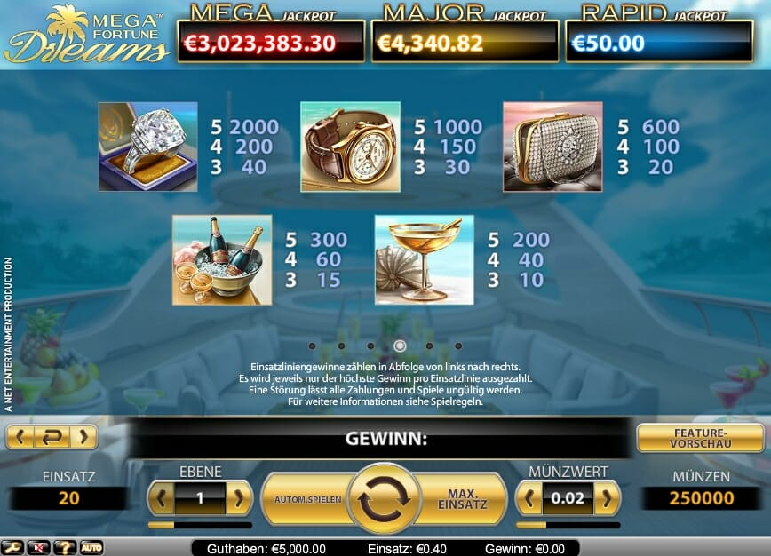 start online casino mega fortune