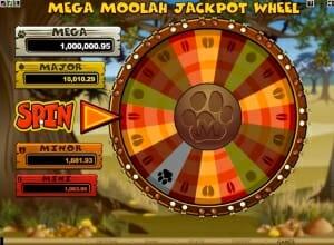 Das Jackpot Rad bei Mega Moolah