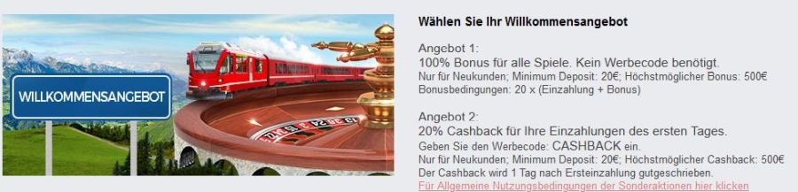 Swiss Casino Bonus 2021