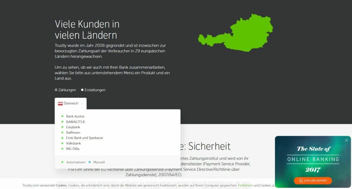Trustly Banken Österreich