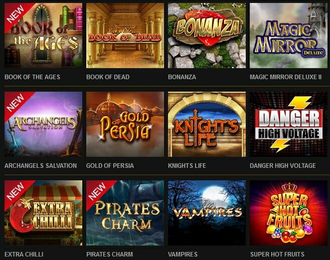 VideoSlots Spieleauswahl